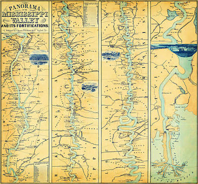Mississippi Valley And Its Fortifications 1863 Poster by MotionAge Designs