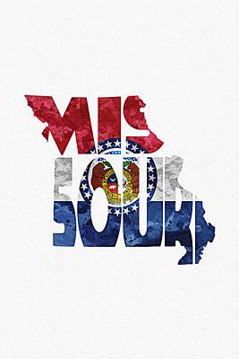 Missouri Typographic Map Flag Poster by Ayse Deniz