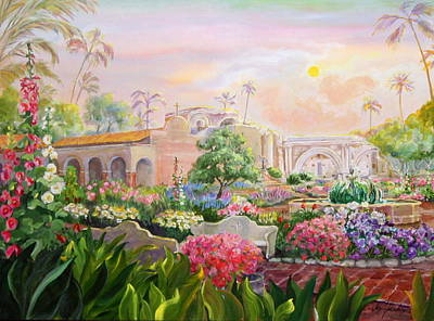 Misty Morning At Mission San Juan Capistrano  Poster by Jan Mecklenburg