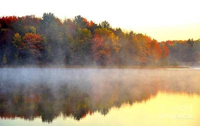 Misty Morning At Stoneledge Lake Poster by Terri Gostola