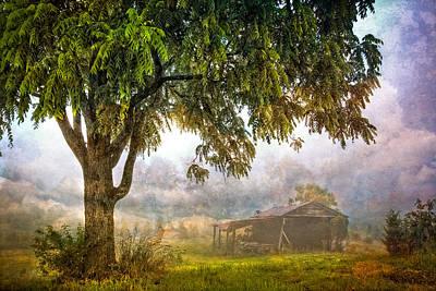 Misty Mountain Barn Poster by Debra and Dave Vanderlaan