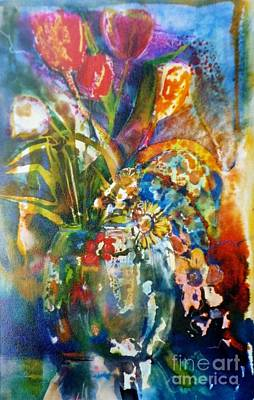 Mixed Media Tulips Poster by Donna Acheson-Juillet