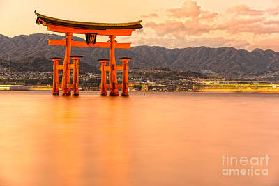 Miyajima Torii Gate - Japan Poster by Luciano Mortula