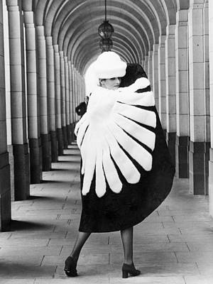 Model Wearing Fur Cape Poster by Underwood Archives