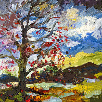 Modern Art Autumn Tree Red Leaves Falling Poster by Ginette Callaway