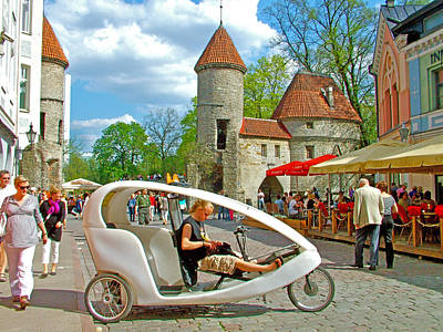Modern Cycle Taxi In Old Town Tallinn-estonia Poster by Ruth Hager