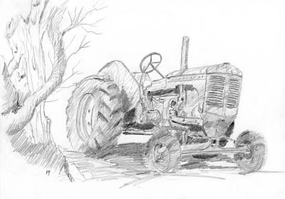 Sketchy Tractor Poster by David King