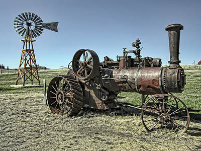 Molson Washington Ghost Town Steam Tractor And Wind Mill Poster by Daniel Hagerman