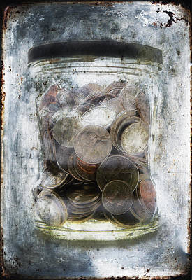 Money Frozen In A Jar Poster by Skip Nall