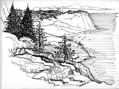 Monhegan Cliffs 1987 Poster by Richard Wambach
