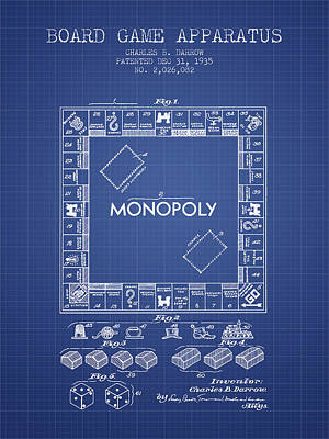 Monopoly Patent From 1935 - Blueprint Poster by Aged Pixel