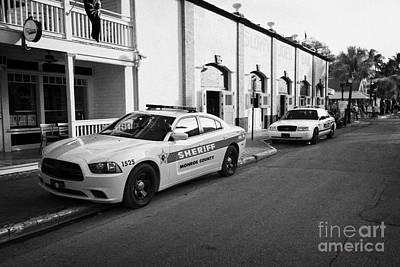 Monroe County Sheriff And Key West Police Patrol Squad Car Key West Florida Usa Poster by Joe Fox