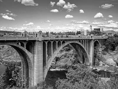 Monroe St Bridge 6 B W Poster by Daniel Hagerman