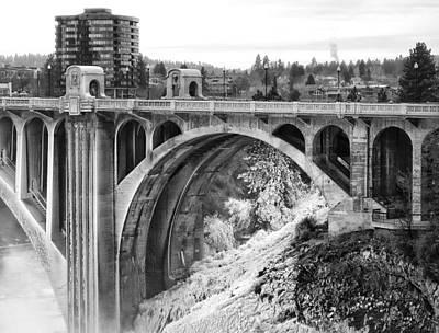Monroe Street Bridge Iced Over - Spokane Washington Poster by Daniel Hagerman