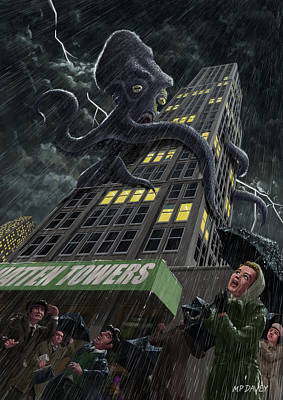 Monster Octopus Attacking Building In Storm Poster by Martin Davey