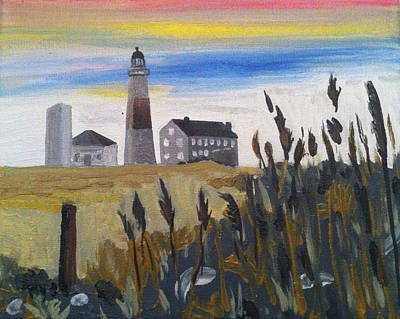 Montauk Lighthouse Willows Poster by Joe Ballone