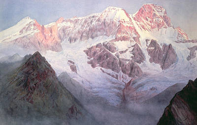 Monte Rosa At Sunrise From Above Alagna Poster by Alfred Gibson William