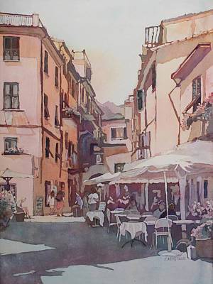 Monterosso Cafe Poster by Jenny Armitage