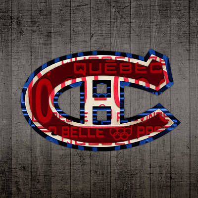 Montreal Canadiens Hockey Team Retro Logo Vintage Recycled Quebec Canada License Plate Art Poster by Design Turnpike