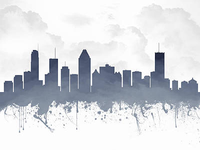 Montreal Quebec Skyline - Blue 03 Poster by Aged Pixel