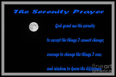 Moon - Serenity Prayer - Blue Poster by Barbara Griffin