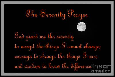 Moon - Serenity Prayer - Orange Poster by Barbara Griffin