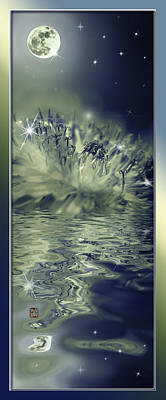 Moon And Dandelion Reflection With Sparkling Stars Poster by Peter v Quenter