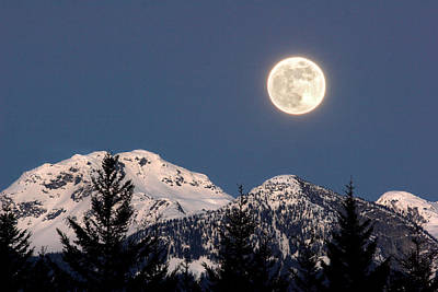Moon Glow Whistler Canada Poster by Pierre Leclerc Photography