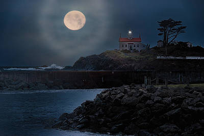 Moon Over Battery Point Poster by James Heckt