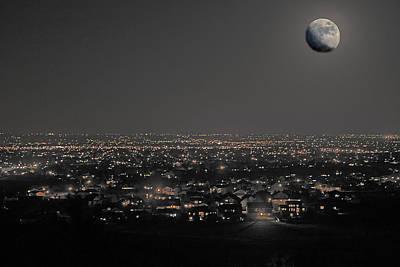 Moon Over Fort Collins Poster by David Kehrli