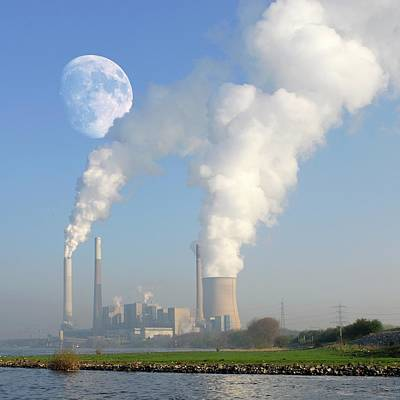 Moon Over Power Station Poster by Detlev Van Ravenswaay