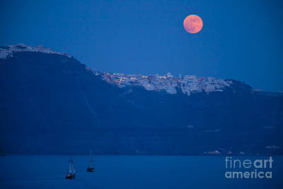 Moon Over Santorini Poster by Brian Jannsen