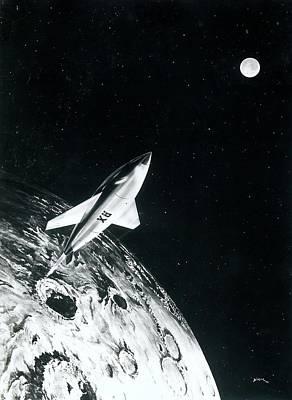 Moon Rocket Poster by Detlev Van Ravenswaay
