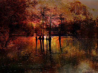 Moon Setting Over Reelfoot Lake Poster by J Larry Walker