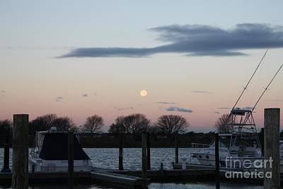 Moon Setting Over The Marina Poster by John Telfer