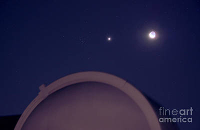 Moon, Venus, And Beehive Cluster M44 Poster by John Chumack