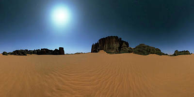 Moonlight Over The Sahara Desert Poster by Babak Tafreshi