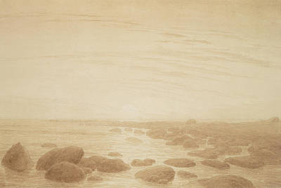 Moonrise On The Sea Poster by Caspar David Friedrich