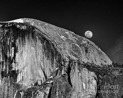 Moonrise Over Half Dome Poster by Terry Garvin