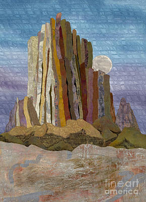 Moonrise Shiprock Poster by Patricia Gould