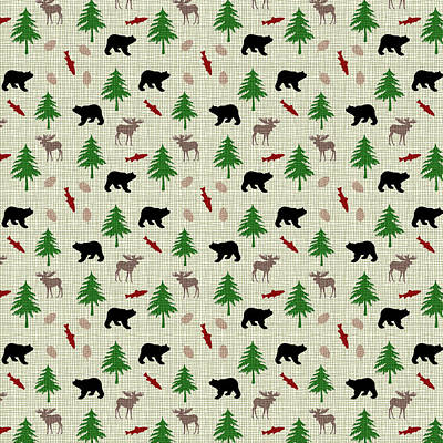 Moose And Bear Pattern Poster by Christina Rollo