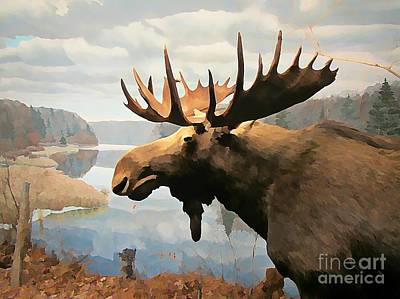 Moose At Lake Poster by John Malone