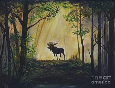 Moose Magnificent Poster by Leslie Allen