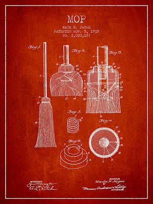 Mop Patent From 1935 - Red Poster by Aged Pixel