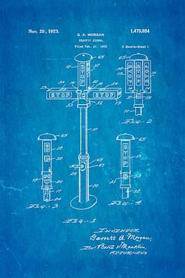 Morgan Traffic Signal Patent Art 1923 Blueprint Poster by Ian Monk