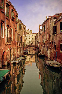 Morning Reflections Of Venice Poster by Cliff Wassmann