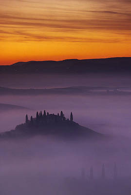 Morning Tuscan Mist Poster by Andrew Soundarajan