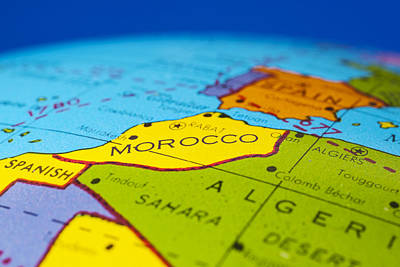 Morocco - Antique  Globe Map Travel Background Poster by Donald  Erickson