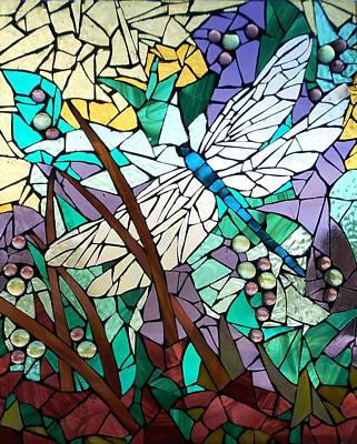 Mosaic Stained Glass - Dragonfly 3 Poster by Catherine Van Der Woerd