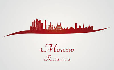 Moscow Skyline In Red Poster by Pablo Romero